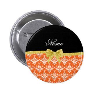 Custom name orange damask gold glitter bow pinback button