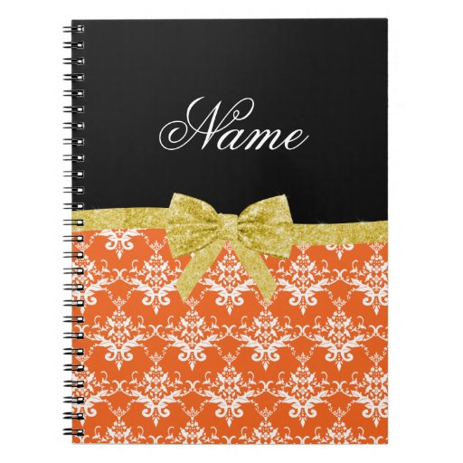Custom name orange damask gold glitter bow spiral note book