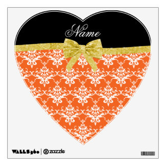 Custom name orange damask gold glitter bow room decals