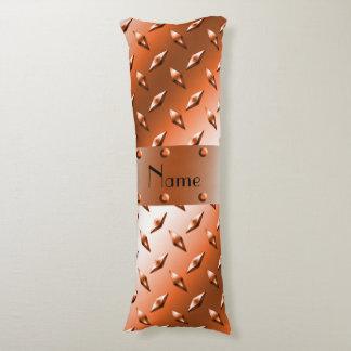 Custom name orange diamond plate steel body pillow