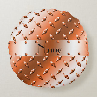 Custom name orange diamond plate steel round pillow