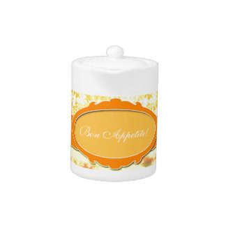 Custom Name Orange Girly Pattern Flowers and Sky Teapot