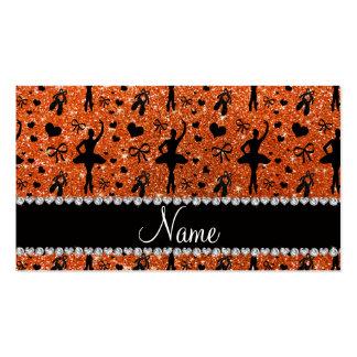 Custom name orange glitter ballerinas business card templates