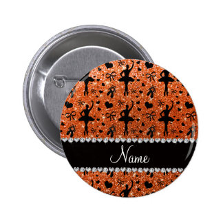 Custom name orange glitter ballerinas pins