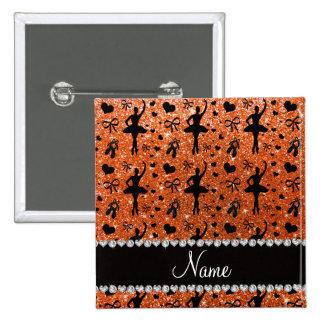 Custom name orange glitter ballerinas button