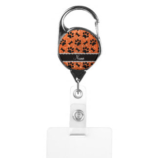 Custom name orange glitter bones dog paws badge holder