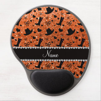 Custom name orange glitter cowboy boots hats gel mouse pad
