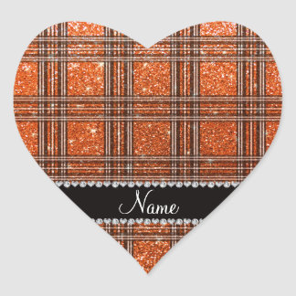 Custom name orange glitter plaid heart sticker