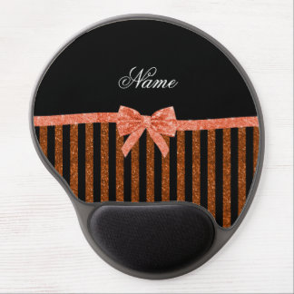 Custom name orange glitter stripes bows gel mouse pad