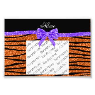 Custom name orange glitter zebra stripes bow photographic print