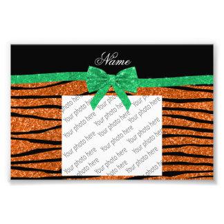 Custom name orange glitter zebra stripes green bow photo print
