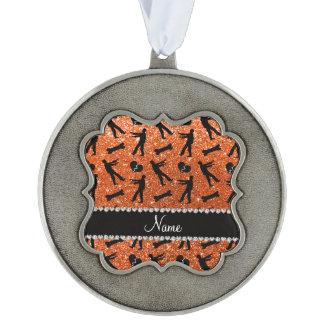 Custom name orange glitter zombies scalloped pewter christmas ornament