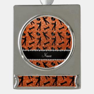 Custom name orange glitter zombies silver plated banner ornament