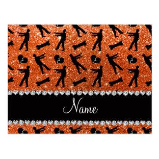 Custom name orange glitter zombies post card
