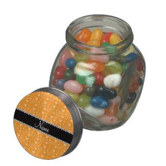 Custom name orange hearts black stripe glass candy jar