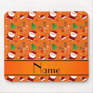 Custom name orange lacrosse christmas pattern mouse pads