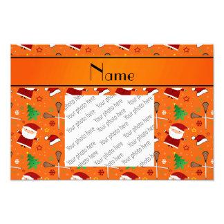 Custom name orange lacrosse christmas pattern photographic print