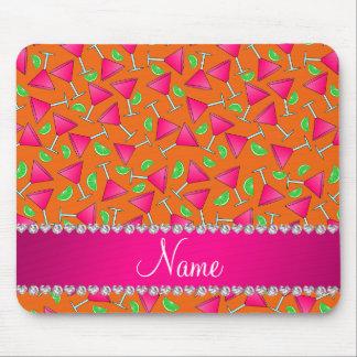 Custom name orange pink cosmos limes mouse pad