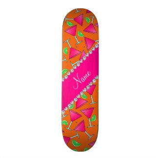 Custom name orange pink cosmos limes skate board decks