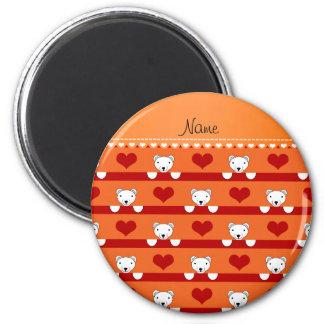 Custom name orange polar bears red hearts stripes 2 inch round magnet