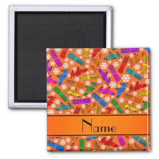 Custom name orange rainbow bobsleigh snowflakes 2 inch square magnet