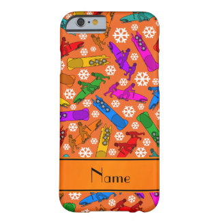 Custom name orange rainbow bobsleigh snowflakes barely there iPhone 6 case