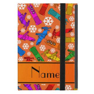 Custom name orange rainbow bobsleigh snowflakes case for iPad mini