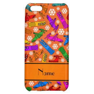 Custom name orange rainbow bobsleigh snowflakes cover for iPhone 5C