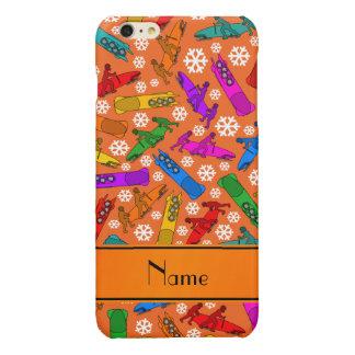 Custom name orange rainbow bobsleigh snowflakes glossy iPhone 6 plus case