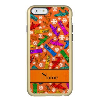Custom name orange rainbow bobsleigh snowflakes incipio feather® shine iPhone 6 case