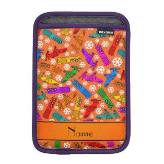 Custom name orange rainbow bobsleigh snowflakes iPad mini sleeve