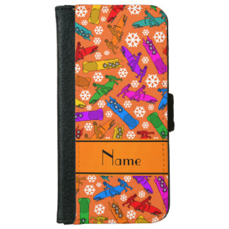 Custom name orange rainbow bobsleigh snowflakes iPhone 6/6s wallet case