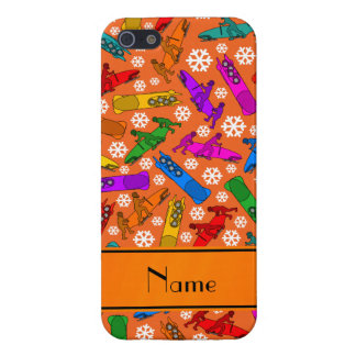 Custom name orange rainbow bobsleigh snowflakes iPhone SE/5/5s case