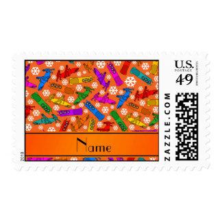 Custom name orange rainbow bobsleigh snowflakes stamp
