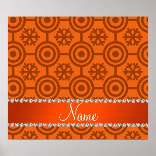 Custom name orange retro snowflakes poster