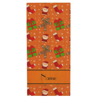Custom name orange santas gingerbread wood USB 2.0 flash drive