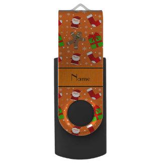 Custom name orange santas gingerbread swivel USB 2.0 flash drive