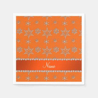 Custom name orange silver snowflakes orange stripe standard cocktail napkin