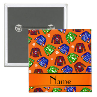 Custom name orange ugly christmas sweater pattern 2 inch square button