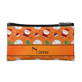 Custom name orange volleyball christmas pattern cosmetic bag