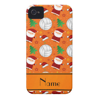 Custom name orange volleyball christmas pattern Case-Mate iPhone 4 case