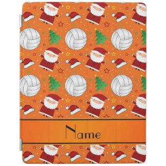 Custom name orange volleyball christmas pattern iPad cover