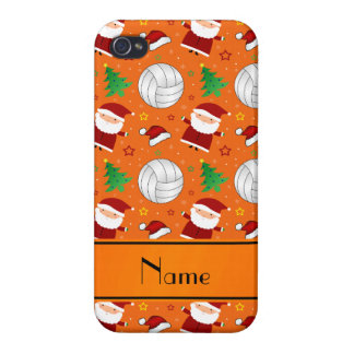Custom name orange volleyball christmas pattern iPhone 4/4S case
