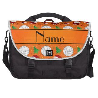 Custom name orange volleyball christmas pattern laptop bag