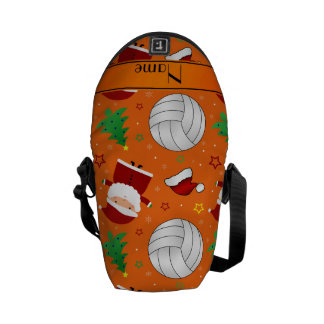 Custom name orange volleyball christmas pattern courier bags