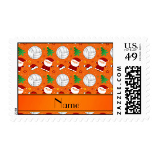 Custom name orange volleyball christmas pattern postage stamp