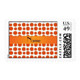 Custom name orange volleyball pattern postage