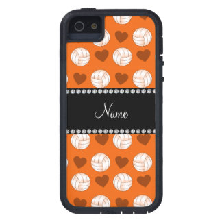 Custom name orange volleyballs and hearts iPhone SE/5/5s case