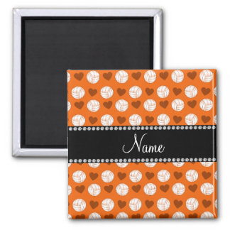 Custom name orange volleyballs and hearts refrigerator magnet