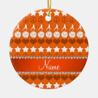 Custom name orange volleyballs stars hearts peace ceramic ornament